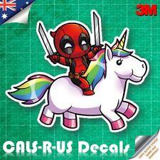 Happy Deadpool Unicorn Swords Decal 3M Sticker Car Luggage Guitar Skateboard