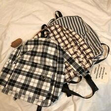 Eco Canvas Travel Backpack Student Book Shoes Bag Plaid Check Grid Stripe Xing S