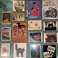 Lot of 15 Vtg Copy Of Art Prints Ads Promo Cat Kitten Puck Keppler Copper Frame