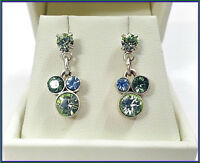 NEW PILGRIM SILVER EARRINGS GREEN CRYSTALS GEO COLLECTION VINTAGE DROP DANGLE