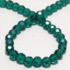 Lot de 50 perles à FACETTES 4mm en Cristal de Bohème Vert Bleu