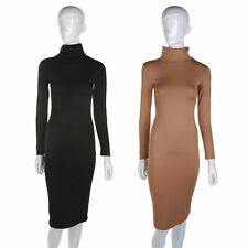 Unbranded Polyester Long Sleeve Polo Neck Dresses for Women