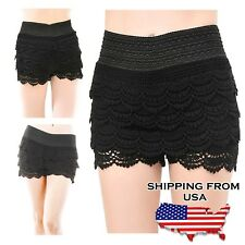 Plus Size Lady Crochet Lace Shorts XL, Black TD Under Safety Pants Shorts