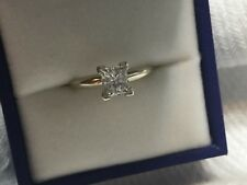 14k solid white gold princess cut diamond engagement ring .83ct clarity enhanced