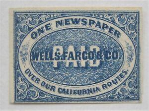 1860's US Local Wells Fargo Newspaper Stamp 143LP3 Imperforate Genuine 4 Margins