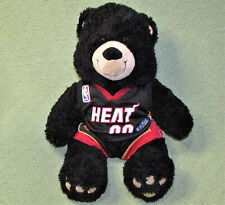 "Build A Bear Miami Heat Basketball Black Teddy Bear Stuffed Animal Plush 14"" Toy"