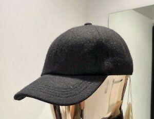 Brunello Cucinelli  LOGO baseball CAP 100% wool adjustable size L - Black