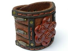 Large Ketoh  Bison Leather 3 inch wide Cuff stone  Bracelet Wristband  handmade