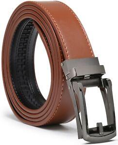 Mens Genuine Leather Ratchet Belt with Slide Buckle Dress Belt for men