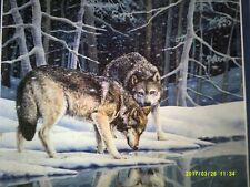 1000 Piece Puzzle of Two Grey Wolves Drinking at Water's Edge in Winter