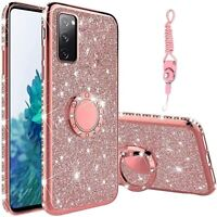 TPU Cover for Samsung Galaxy S20 FE Glitter Diamond Bling Ring Stand Phone Case