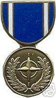 MILITARY MEDAL HAT PIN - NATO MEDAL