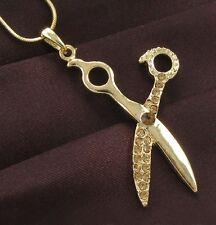 Hair Stylist Scissor Necklace Antique Gold Brass Tone Pendant Fashion Jewelry