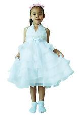 NUEVO Dama de honor vestido de niña con flores azul fucsia Burdeos AMARILLO