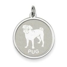 Sterling Silver Pug Dog Pendant Charm Satin Disc NEW