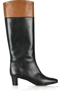 Christian Louboutin CAVALIERE Tall Knee High Two Tone Black Leather Boots $1295