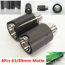 4Pc Matte Black Real Carbon Fiber Car Exhaust End Tips 2.5'' in 3.5''out W/Logo