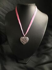 TIBETAN SILVER FILIGREE PUFFED HEART ON PINK ORGANZA RIBBON NECKLACE PENDANT