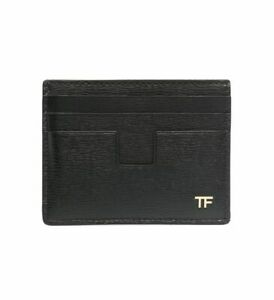 Tom Ford Metal Gold TF Logo Monogram Detail Black Leather Cardholder Wallet