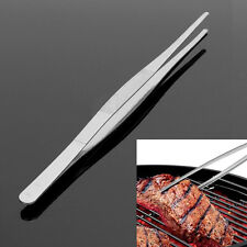 Silver Stainless Steel Extra Long Food Tongs Straight Tweezers Point Tip 1pce