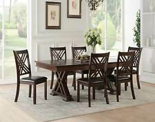NEW Espresso Finish Dining Room Furniture 7pcs Rectangular Table Chairs Set ICBE