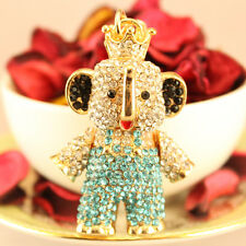 Personalized Blue Elephant Keychain Rhinestone Crystal Cute Animal Gift 01187