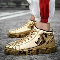 Men's Fashion Sneakers Casual Sports Running Shoes Shiny Leather High Top Casual