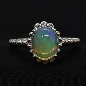 2.55ctw Opal & Diamond Cut White Sapphire 925 Sterling Silver Ring Size 6.75