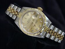 1990's Rolex Datejust Lady 18K Gold & Steel Watch Champagne FACTORY Diamond Dial