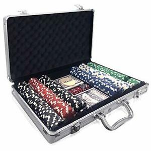 Poker Set in Aluminum Case, Poker Kit with 300 Chips, 2 Decks of Playing
