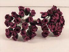 Burgundy Mini Rose Buds Paper Wedding Bridal Scrapbook Crafts Millinery Decor