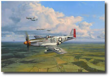 American Eagles by Robert Taylor w/ 3 Pilot Sigs - P-51 Mustang - Aviation Art