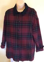 The Limited Womens Red Black Plaid Wool Blend Blazer Jacket Button Front Medium