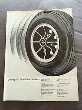 "VINTAGE 1960s DUNLOP ""GT ALUMINIUM WHEELS"" ORIGINAL ADVERT"