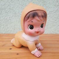 """VINTAGE  """"Hihi Japan crawling"""" BABY GIRL big eyes RUBBER TOY DOLL BISERKA ZAGREB"""