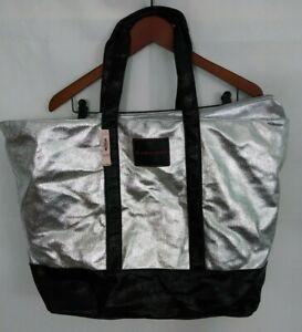 NEW VICTORIA'S SECRET Extra Large Metallic Silver/Black Tote Bag Weekender