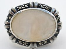 Mother Of Pearl & Marcasite Ring Sterling Silver Vintage Size 6.5 MOP Jewelry