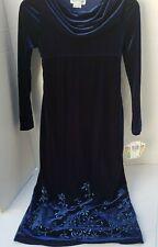 My Michelle Blue Velvet Girls Dress Floral Flower Brooch Long Sleeve Dress 12