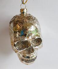 "Vintage Glittered Mercury Glass Skull Skeleton Head Halloween Ornament 4"""