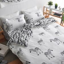 The Zebra Print White Bedding Set Duvet Cover+Sheet+Pillow Case Four-Piece HOT