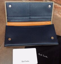PAUL SMITH UNISEX TAUPE & NAVY BLUE GRAINED LEATHER BIFOLD TRAVEL WALLET