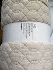 "NWT-Crate-&-Barrel-Elize-Natural-Full/Queen-Quilt-90"" x 96""-Linen-Cotton-Bedding"