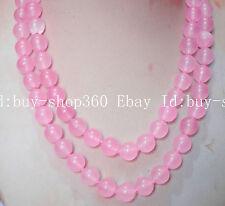 Long HUGER 12mm pink jade natural stone jasper GEMSTONE round bead necklace36''