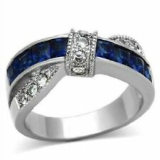 5 CT Round Cut Thin Blue Line Solid 925 Sterling Silver White CZ Engagement Ring