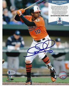 ADAM JONES  BALTIMORE ORIOLES  BECKETT AUTHENTICATED  ACTION SIGNED 8x10