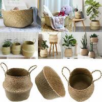 Foldable Seagrass Basket Plant Pot Flower Vase Home Storage Holder Laundry Bag