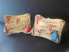 """2 Italian Wood Wall Hanging Plaques """"Old Italian Quotes"""""""