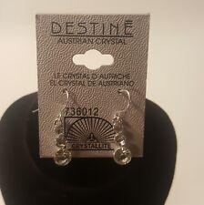 Destine Austrian Crystal 3 Crystal Dangle Hook Earrings Dainty