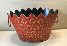 Vintage RED GOLD Decorative  Painted TOLE 2 HANDLED BUCKET/PLANTER