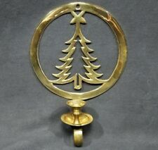 VINTAGE CHRISTMAS TREE BRASS WALL MOUNT CANDLE HOLDER SCONCE PARTYLITE DECOR